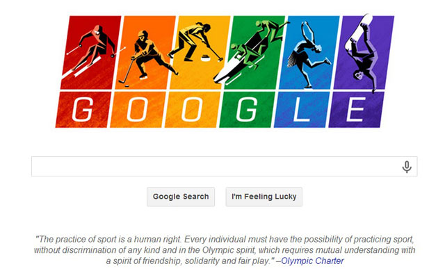 oogle marked Sochi 2014 by flying the gay flag in a search page Doodle that linked to a call for equality in the Olympic Charter ©Google