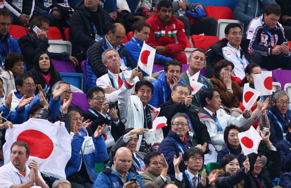 Tokyo 2020 President Yoshirō Mori had joined Japanese Prime Minister Shinzo Abe to watch Mao Asada during the team programme at Sochi 2014 ©Getty Images