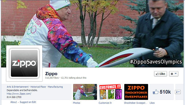 Zippo removed this image from its Facebook page after Sochi 2014 officials warned them that they might be breaking rules on Olympic marketing ©Facebook