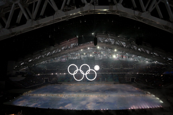 One of the Olympic rings, supposed to form out of snowflakes, fails to materialise ©Getty Images