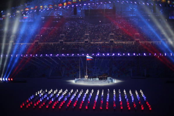 The Russian flag at the Opening Ceremony of the Sochi Winter Olympics ©Getty Images