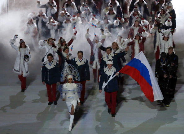 Bobsledder Alexander Zubkov leads the Russian team out into the Stadium ©Getty Images