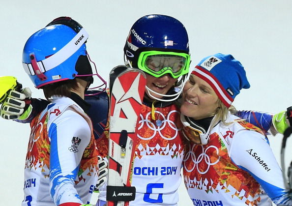 Olympic slalom champion Mikaela Shiffrin celebrates gold with fellow medallists Marlies Schild and Kathrin Zettel ©AFP/Getty Images