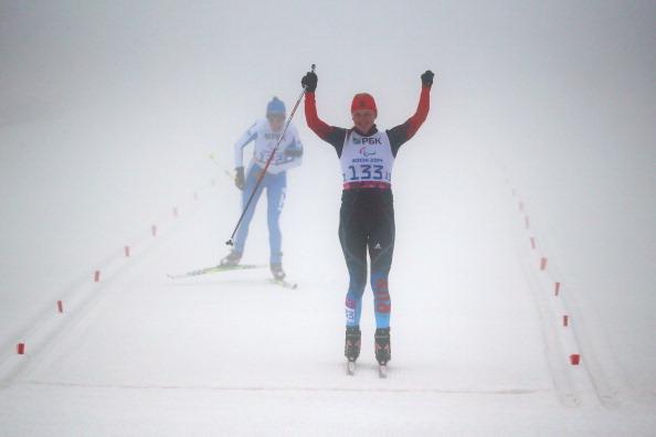 Alena Kaufman celebrates biathlon gold ©Getty Images