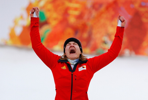 Anna-Lena Forster of Germany seems happy with her bronze medal ©Getty Images