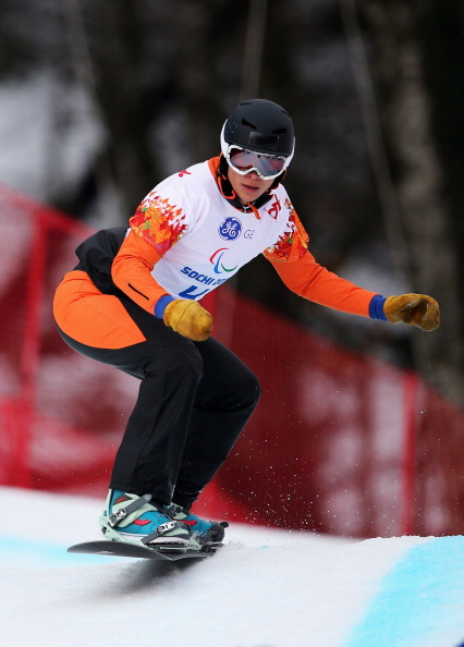 Bibian Mentel-Spee en route to the first ever Para-snowboarding gold medal ©Getty Images