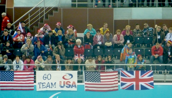 British and US fans together in the curling centre to cheer on their respective teams ©Twitter