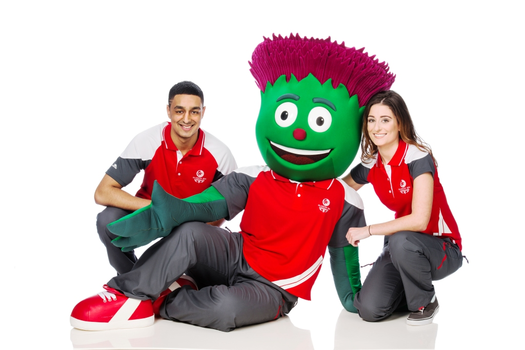 Clyde and his Clyde-siders sporting the official Glasgow 2014 Games Times uniform which was unveiled today ©Glasgow 2014