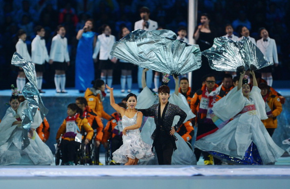 Dancers perform in the Pyeongchang 2018 section of the Closing Ceremony ©Getty Images