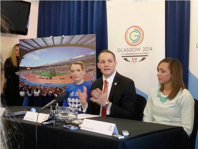 Eilidh Child (left), Glasgow 2014 chief executive David Grevemberg (centre) and Jessica Ennis-Hill speak about the athletics track today at Hampden Park ©ITG