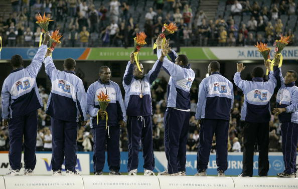 Fiji's rugby sevens team celebrate their bronze medal at the 2006 Commonwealth Games in Melbourne ©AFP/Getty Images
