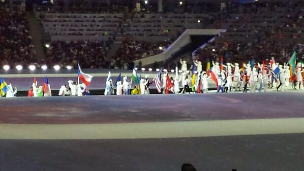 Flagbearers enter the arena during the Closing Ceremony ©Twitter