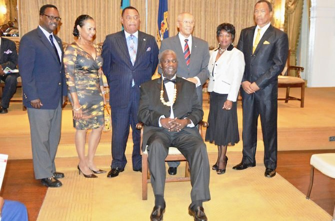 Former BOC President Sir Arlington Butler (centre) was honoured at a special ceremony in Nassau marking his contribution to sport in the Bahamas ©BOC