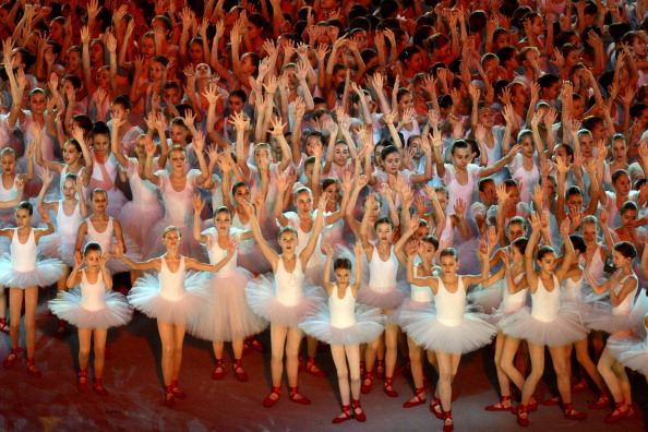Hundreds of young ballerinas perform in the ceremony ©Getty Images