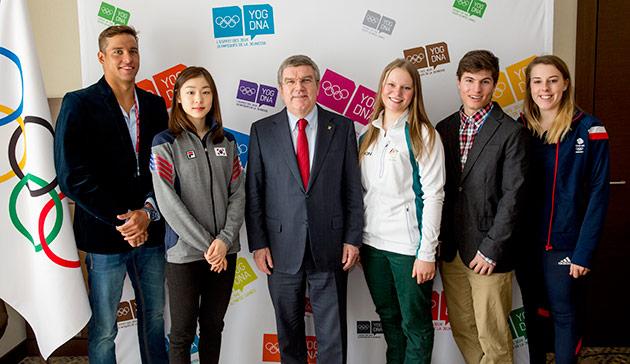 IOC President Thomas Bach meeting with the youth ambassadors in Sochi last month ©IOC/Ian Jones