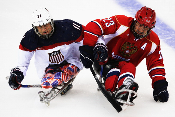 It was a highly physical opening period but the ice sledge hockey final remains goal-less ©Getty Images