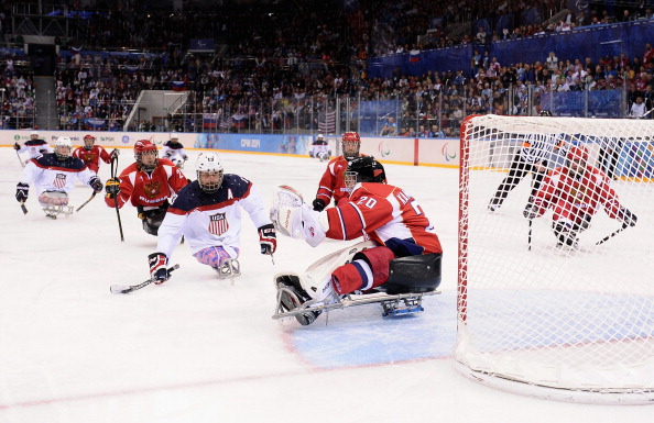 Josh Sweeney blasts the puck into the roof of the net in what proved the Paralympic gold medal winning strike ©Getty Images