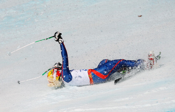 Britain's Kelly Gallagher was among the fallers in the first run of the giant slalom visually impaired ©Getty Images