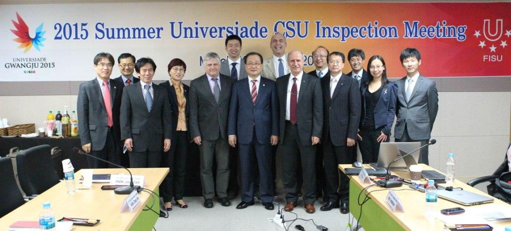 Kim Yoon-suk, secretary general of Gwangju 2015, Kemal Tamer, CSU chair and Eric Saintrond, FISU secretary general, along with participants of the CSU Inspection ©Gwangju 2015