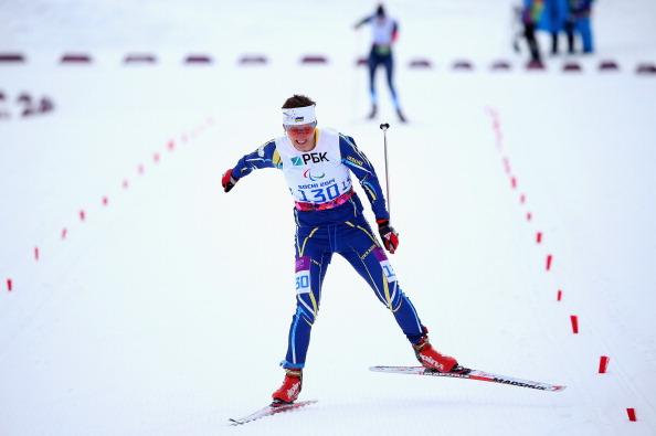 Oleksandra Konanova of Ukraine wins the 12.5km standing biathlon ©Getty Images