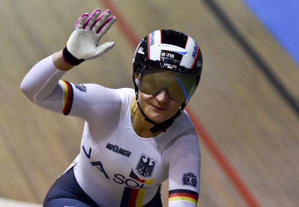 Kristina Vogel crosses the line to win her first individual world cycling title ©AFP/Getty Images