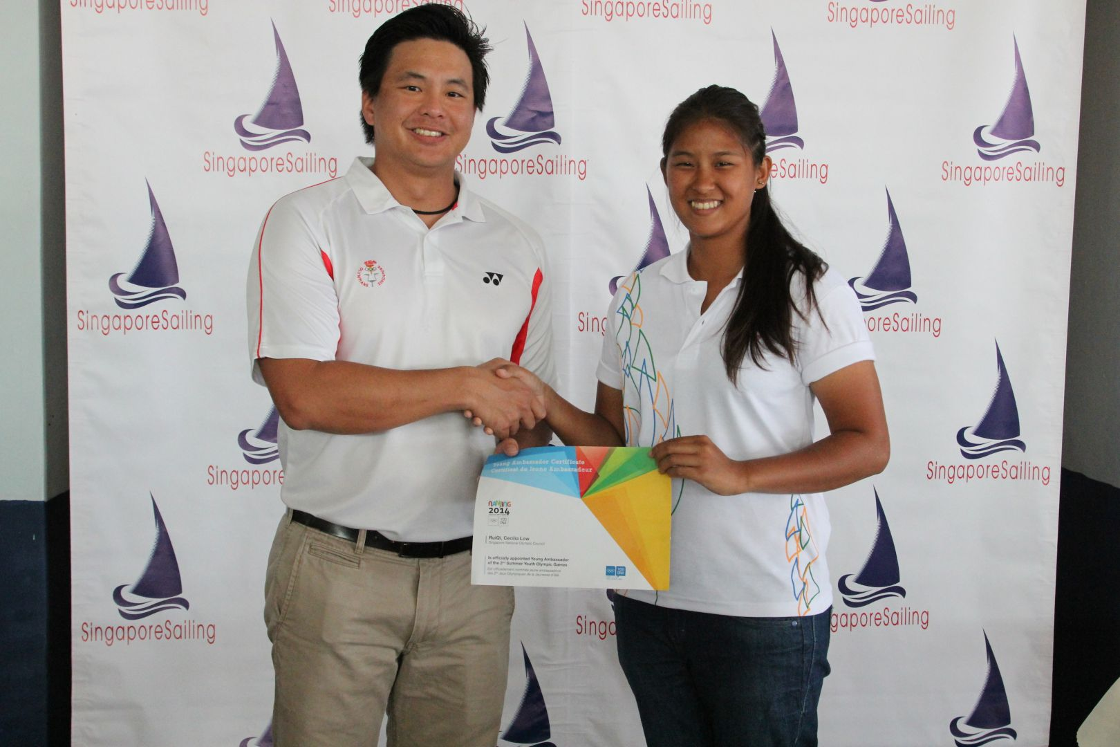 Mark Chay (left) and Cecilia Low will support athletes at this summer's Youth Olympic Games ©Singapore National Olympic Council