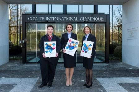 Members of the all female Krakow 2022 delegation presented their Application Files at the IOC headquarters in Lausanne yesterday ©Krakow 2022