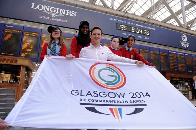 Michael Jamieson at today's launch of the official countdown clock to Glasgow 2014 at Glasgow Central Train Station ©Glasgow 2014