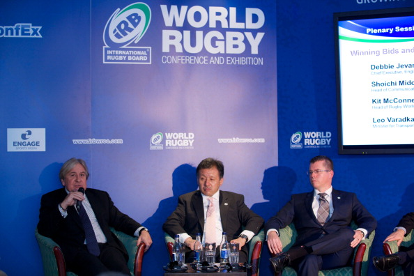 Mike Lee speaking at the World Rugby Conference in Dublin last November ©Getty Images