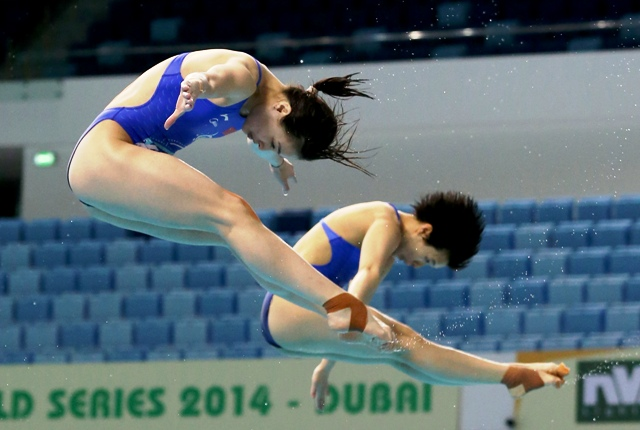 Minxia Wu and Tingmao Shi claimed a second successive Diving World Series win of the year in Dubai ©PromoSeven Sports Marketing