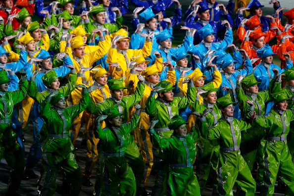 Multi-coloured performers during the Closing Ceremony of Sochi 2014 ©Getty Images