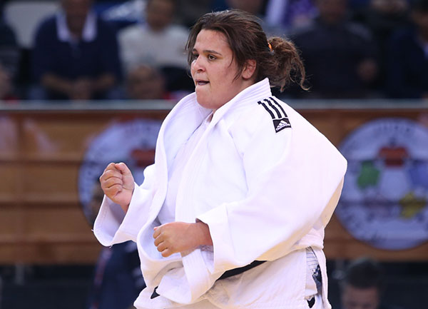Nihel Cheikh Rouhou followed a yuko score with a quick immobilisation to secure the women's over 78kg title ©IJF