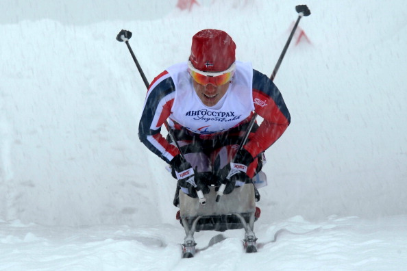 Norwegian Flagbearer Mariann Marthinsen won the only gold medal of the Paralympic Games for Norway ©AFP/Getty Images