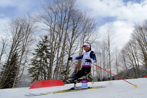 Oksana Masters posted a video blog showing how she prepares for a biathlon indoors ©AFP/Getty Images