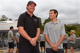 Olympic champion Mathew Belcher (right) will skipper Team Australia and is set to go up against compatriot and skipper of Team Oracle USA Tom Slingsby (left) in the 2017 America's Cup ©AFP/Getty Images