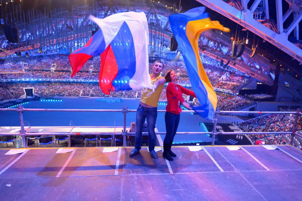 A Russian and Ukrainian spectator at the Opening Ceremony ©Getty Images