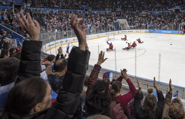 Russian fans celebrate reaching the final of the ice sledge hockey final ©Getty Images