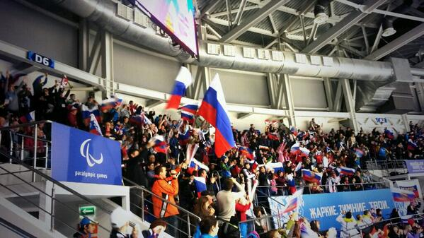Russian fans celebrate their team taking the lead in the Shayba Arena ©Twitter