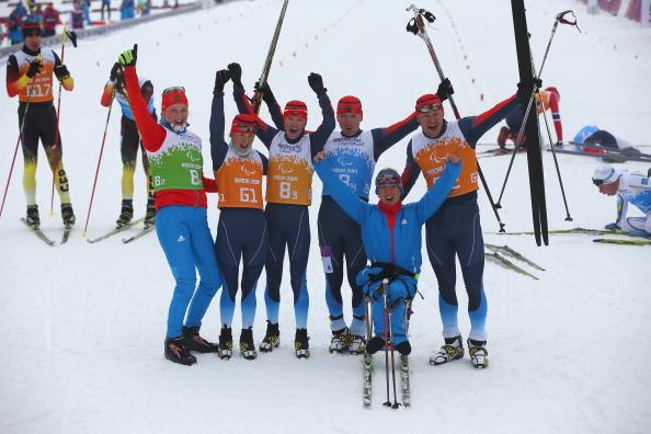 Russia celebrates its gold medal in the 4x2.5km mixed relay cross country race ©Getty Images
