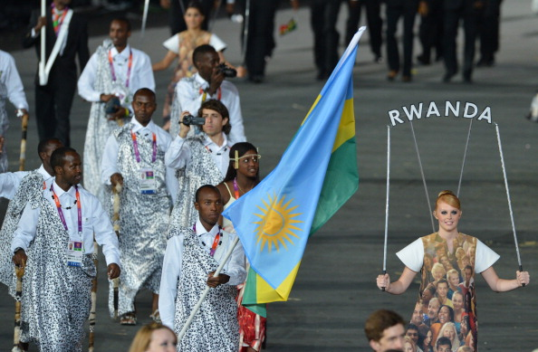 The Rwanda team at the Opening Ceremony of the London 2012 Games ©AFP/Getty Images