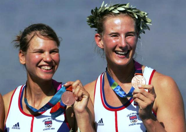 Sarah Winckless (right) and Elise Laverick won Olympic rowing bronze at Athens 2004 ©Getty Images