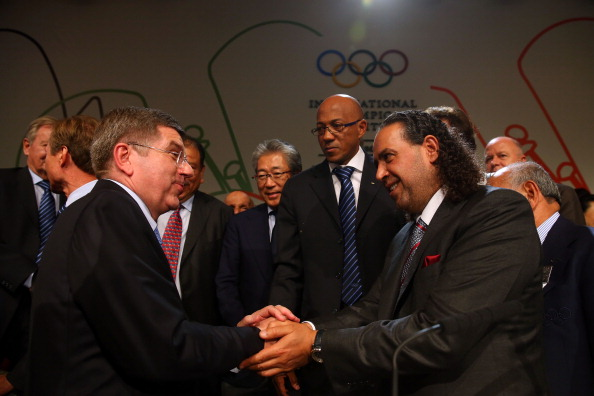 Sheikh Ahmad congratulates Thomas Bach following his election as IOC President last September ©Getty Images