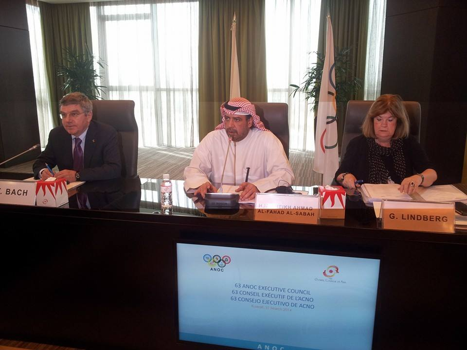 Sheikh Ahmad speaking at the Opening of the ANOC Executive Council Meeting ©ITG