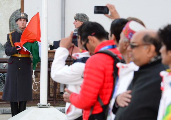 The Indian Flag was raised in a special Ceremony halfway through the Winter Olympics in Sochi ©AFP/Getty Images