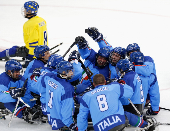 The Italian ice sledge hockey team, minus Igor Stella, have performed well at the Games and have a chance of finishing fifth overall ©Getty Images