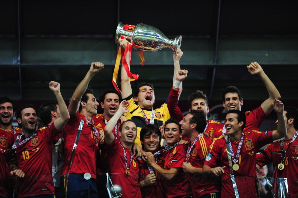 The League of Nations will sit alongside the UEFA European Championships won most recently by Spain in 2012 ©Getty Images