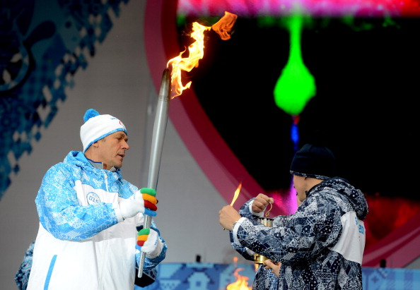 The Paralympic Flame being lit in the Moscow Central Exhibition Centre this morning ©Anadolu Agency/Getty Images