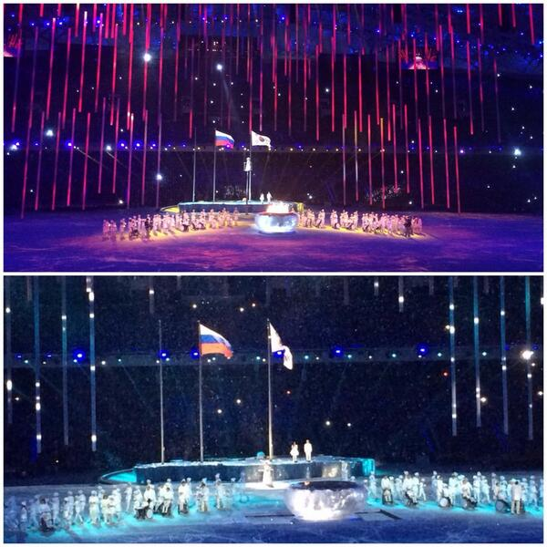 The Paralympic Flame is eradicated to mark the end of the Ceremony ©Twitter