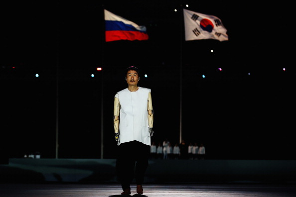 The Paralympics Flag was passed to Pyeongchang at the end of the Ceremony ©Getty Images