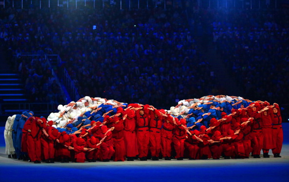 The Russian flag is formed as a giant wave ©Getty Images